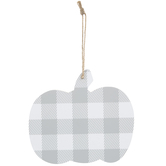 Gray & White Buffalo Check Pumpkin Wood Ornament