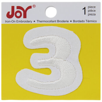 """White Embroidered Iron-On Applique Number 3 - 1 1/2"""""""