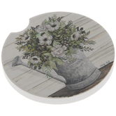 Flowers In Watering Can Car Coaster