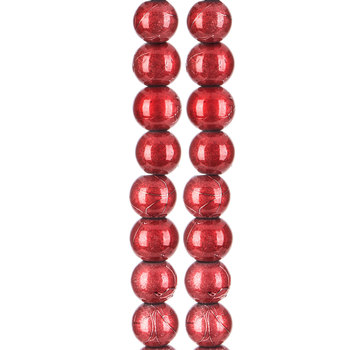 Red Spectra Glass Bead Strands - 8mm