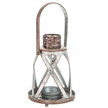 Rusted Criss-Cross Galvanized Metal Lantern