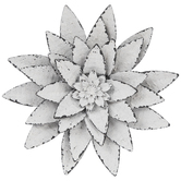 White Distressed Flower Metal Wall Decor