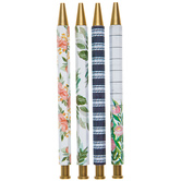 Floral & Striped Pens - 4 Piece Set