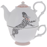 White & Pink Cheetah Tea For One Set
