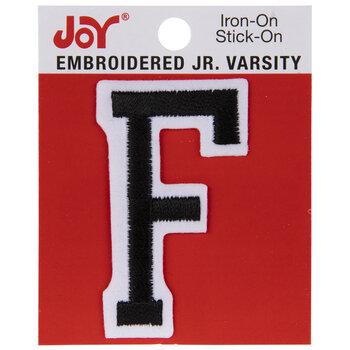 "Black Junior Varsity Letter Iron-On Applique F - 2"""