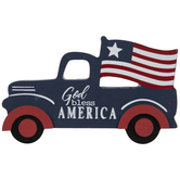 God Bless America Truck Wood Decor