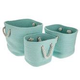 Light Blue Rope Basket Set