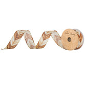 Chevron Wood Grain Wired Edge Ribbon - 1 1/2""