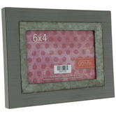 "Gray Wood Frame With Metal Trim - 6"" x 4"""