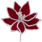 White & Red Velvet Poinsettia Pick