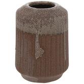 Terra Cotta & Brown Ridged Vase