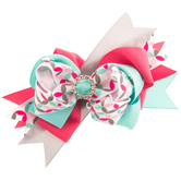 Pink & Turquoise Grosgrain Bow Hair Clip