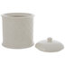 Antique White Embossed Round Canister - Short