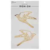 Metallic Gold Bird Iron-On Appliques