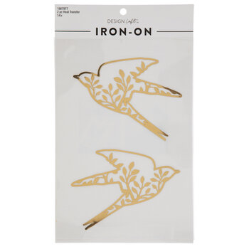 Metallic Gold Bird Iron-On Appliques