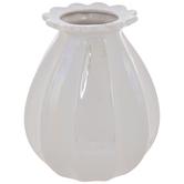 Iridescent White Fluted Vase
