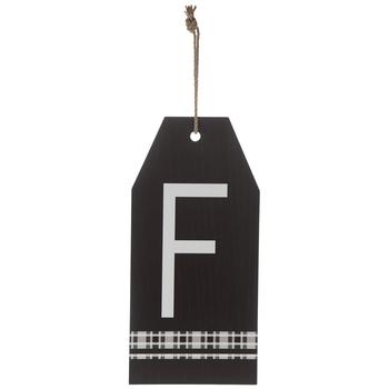 Plaid Tag Letter Wood Wall Decor - F