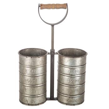 Silver Metal Utensil Holder