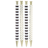 Polka Dot & Striped Pens - 4 Piece Set