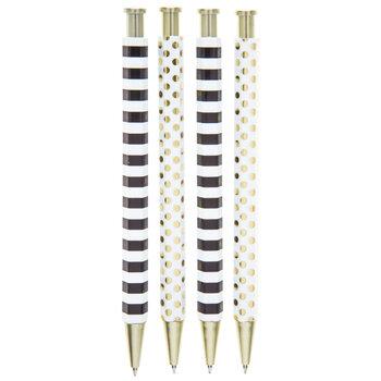 Polka Dot & Striped Pens - 4 Piece Set