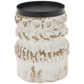 Distressed White Wood Candle Holder