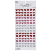 Red, Pink & Silver Hearts 3D Stickers
