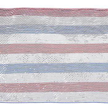Metallic Red, White & Blue Striped Deco Mesh Ribbon