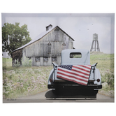 American Flag Truck Canvas Wall Decor