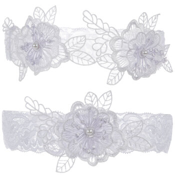 White Floral Lace Garters