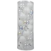 Iridescent & White Glitter Ball Ornaments