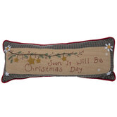 Christmas Day Plaid & Embroidered Pillow