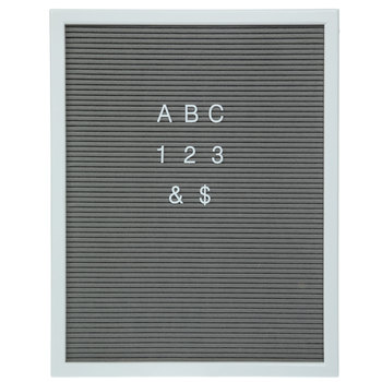 "Gray Felt Letter Board With White Letters - 15 3/4"" x 20"""