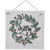 Merry Holly & Leaf Metal Wreath Embellishment