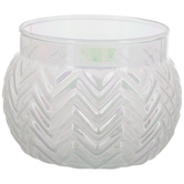 Iridescent Chevron Glass Candle Holder
