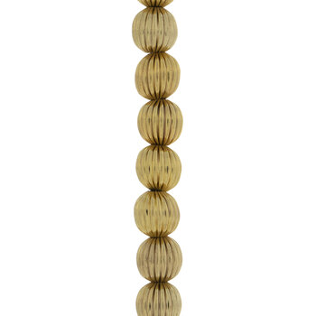 Fluted Round Metal Bead Strand