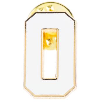 White Letter Metal Pin - O