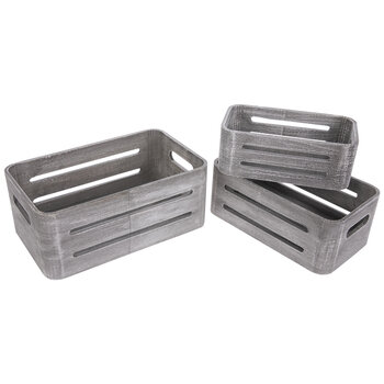 Oval Slotted Wood Crate Set