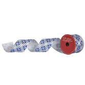 """Silver & Blue Glitter Floral Wired Edge Ribbon - 2 1/2"""""""