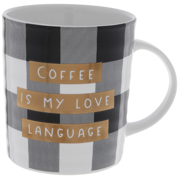 Coffee Is My Love Language Buffalo Check Mug