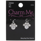 Dog Paw Rhinestone Charms