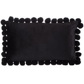 Black Velvet Lumbar Pillow with Pom Poms