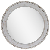 Beaded Round Wood Wall Mirror