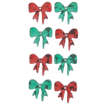 Red & Green Rhinestone Bow Stickers