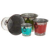 Distressed Paint Metal Flower Pot Set