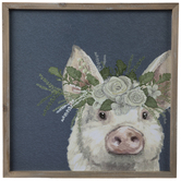 Glitter Floral Pig Wood Wall Decor