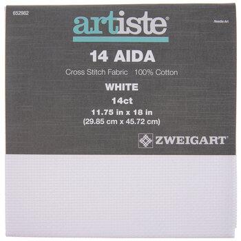"White 14-Count Aida Cross Stitch Fabric - 11 3/4"" x 18"""