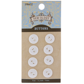 Shiny White Round Buttons - 11mm