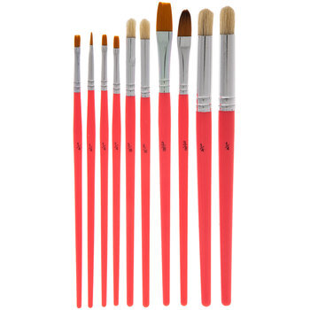 Pink Assorted Paint Brushes - 10 Piece Set