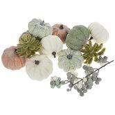 Gray, Green & White Pumpkins, Succulents & Berries