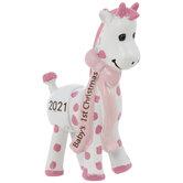 Pink 2021 Baby's 1st Christmas Giraffe Ornament